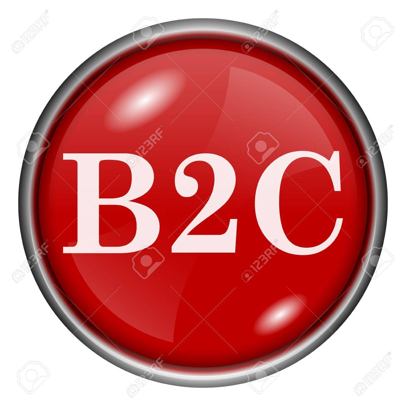 Red round glossy B2C icon with white design on red background Stock Photo - 20837452