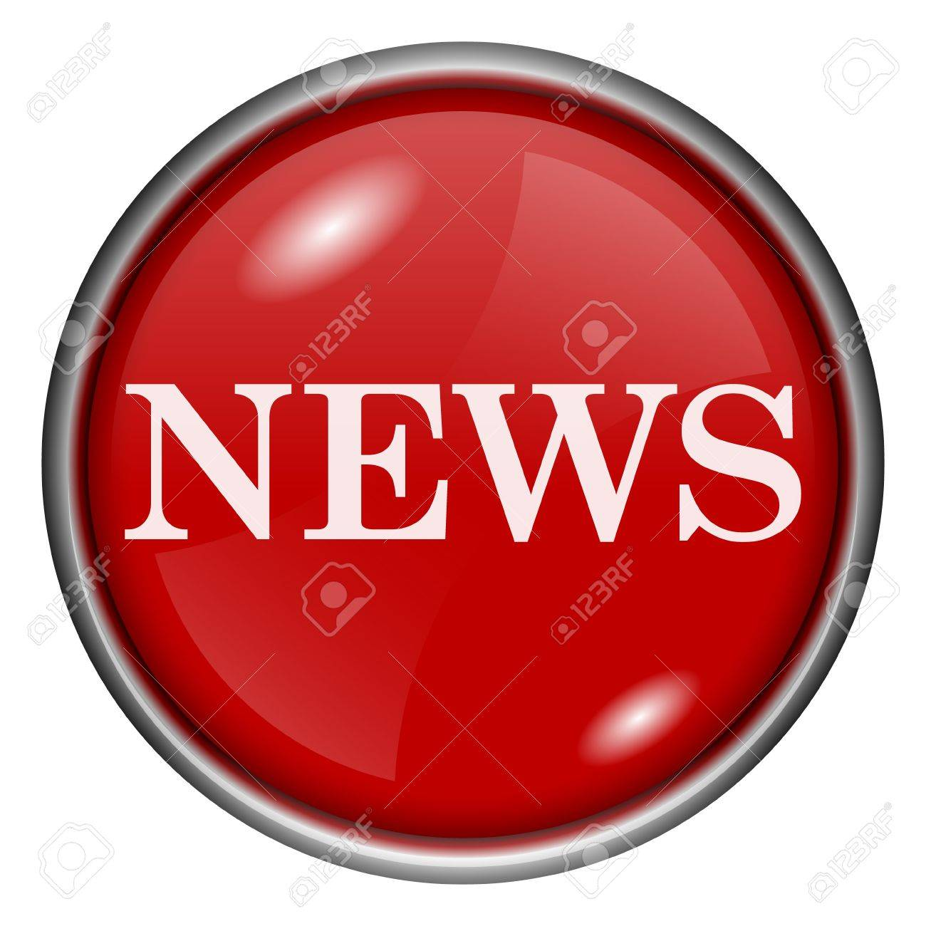 Red round glossy news icon with white design on red background Stock Photo - 20837273