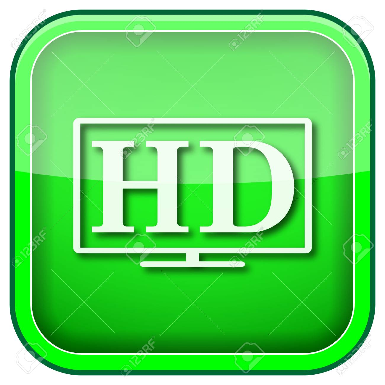 Square shiny icon with white design on green background Stock Photo - 21032868