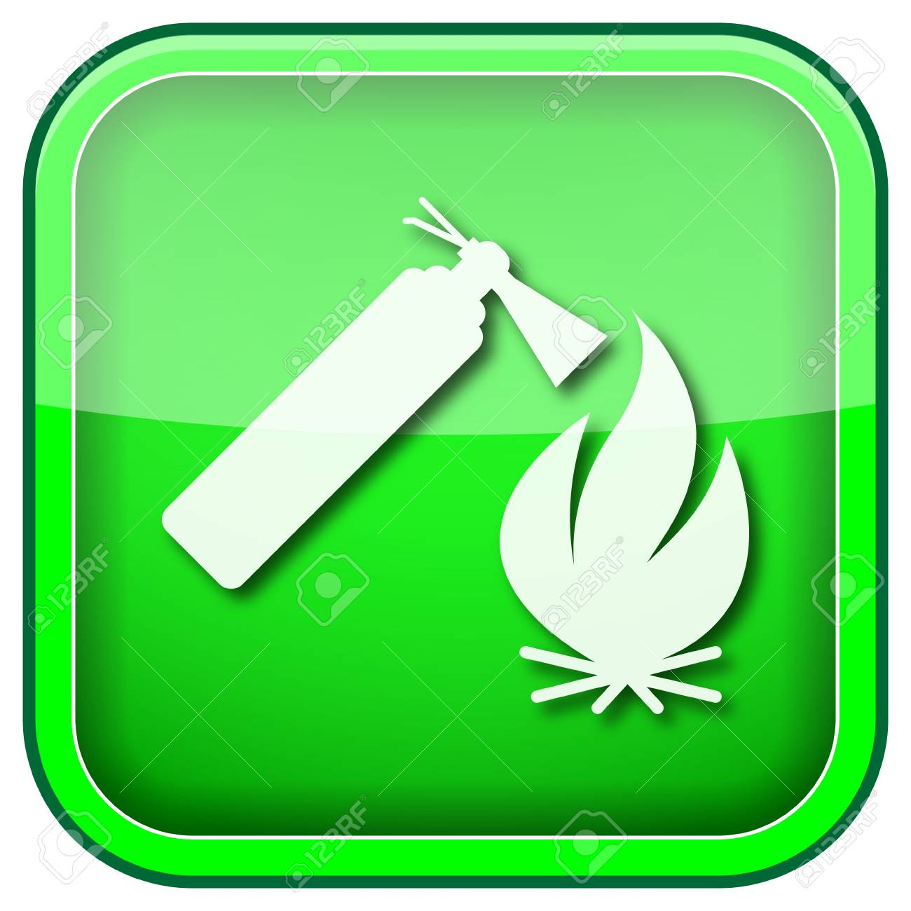 Square shiny icon with white design on green background Stock Photo - 21055900