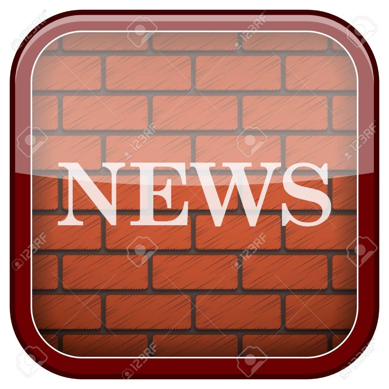 Square shiny icon with white design on bricks wall background Stock Photo - 21176834