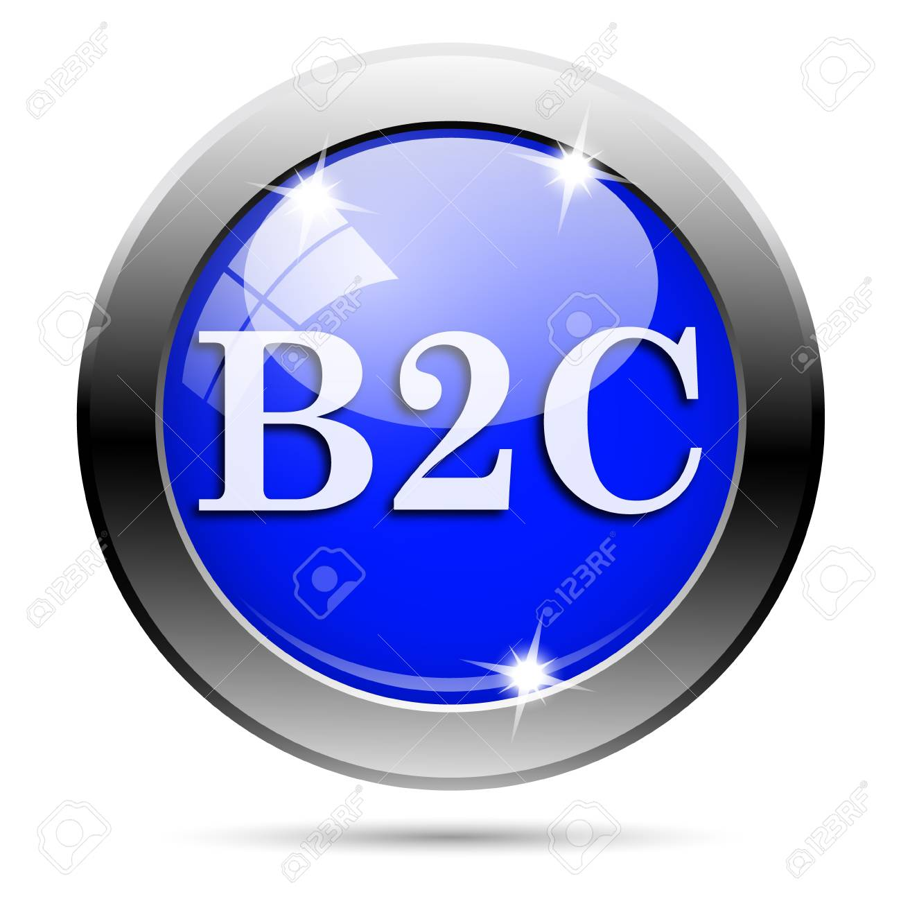 Metallic round glossy icon with white design on blue background Stock Photo - 21986507