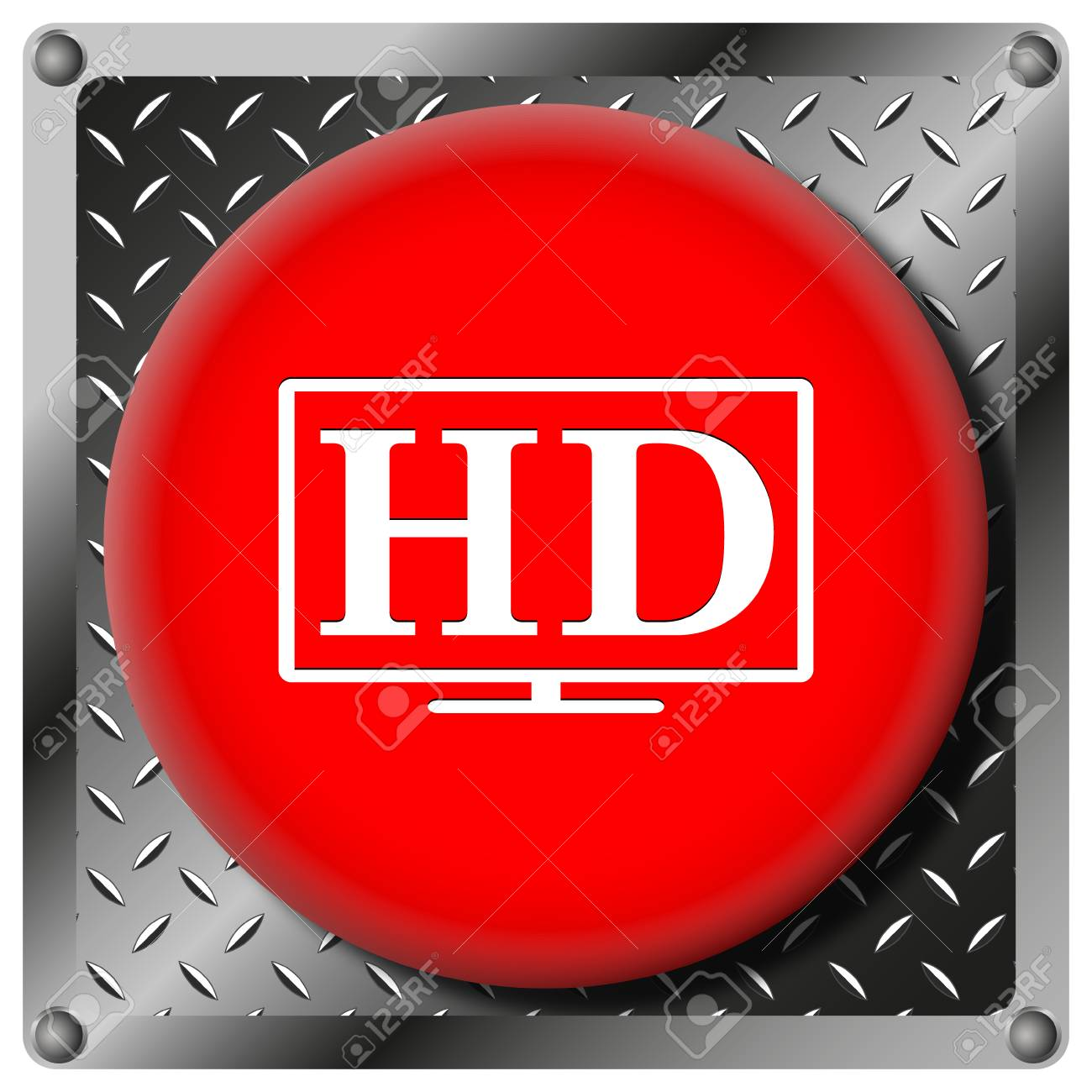 Square icon with white design on red plastic and metallic background Stock Photo - 22227750