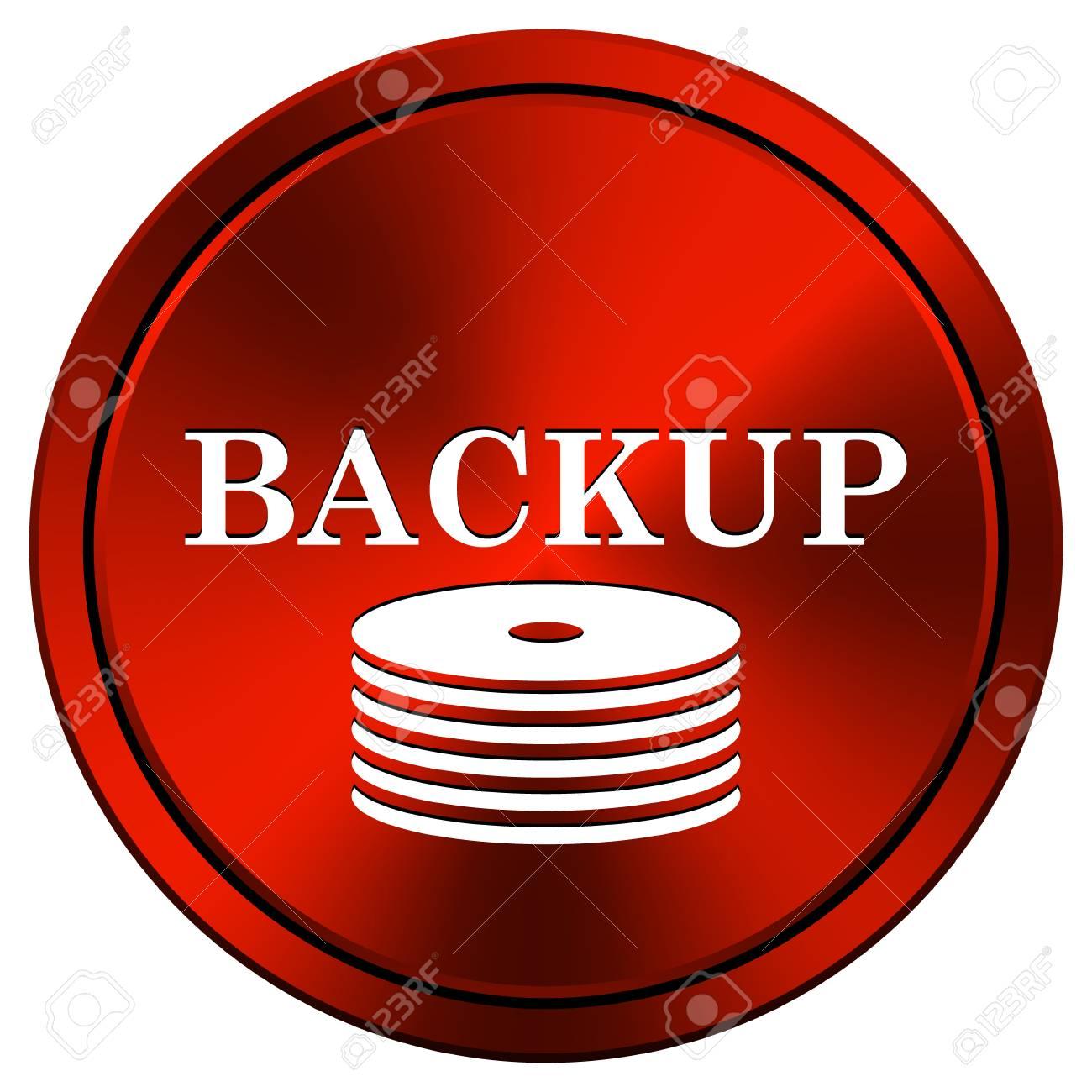 Metallic icon with white design on red  background Stock Photo - 23267651