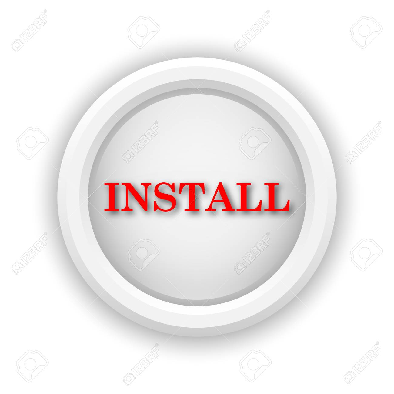 Round plastic icon with red design on white background Stock Photo - 25685403