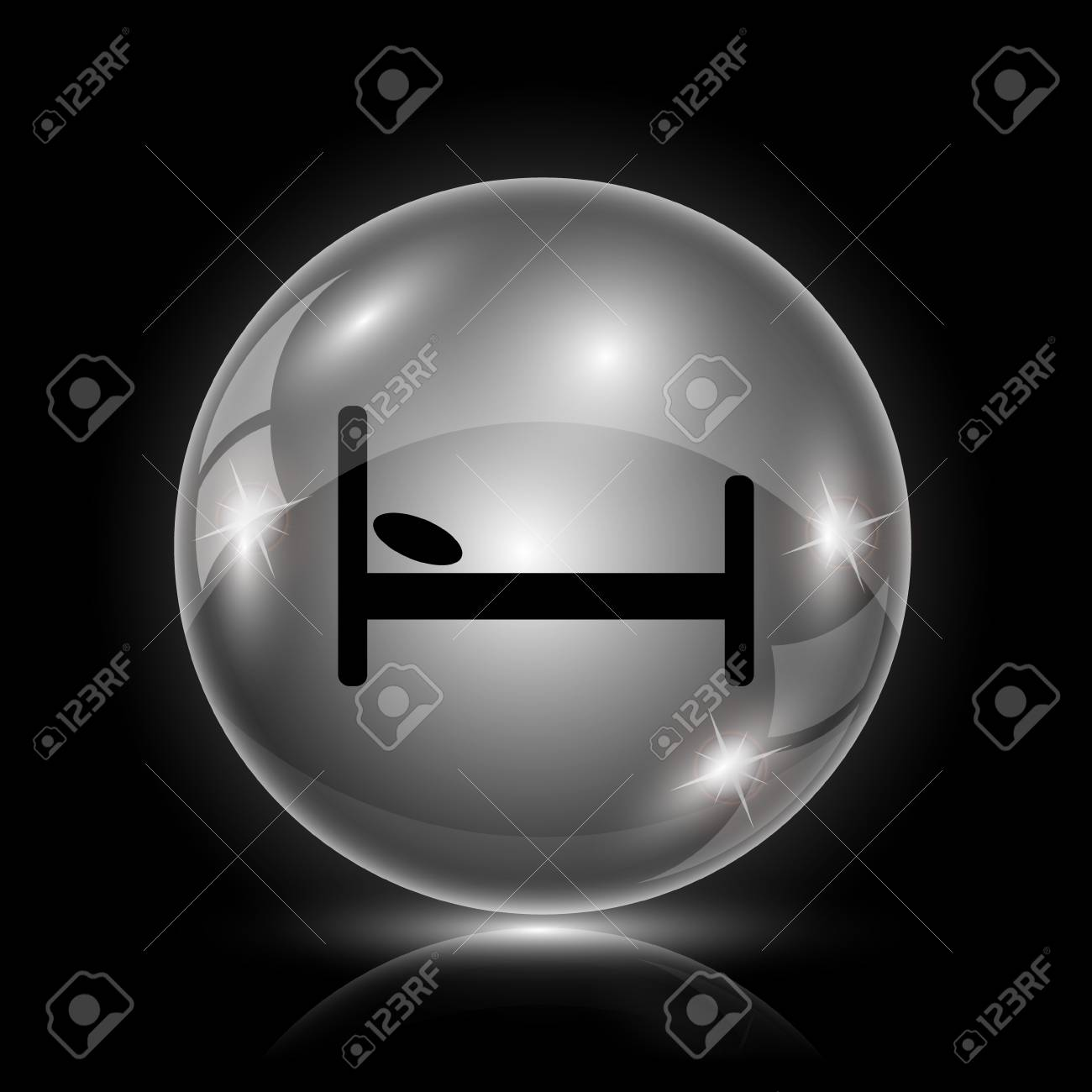 Shiny glossy icon - glass ball on black background Stock Vector - 26377432