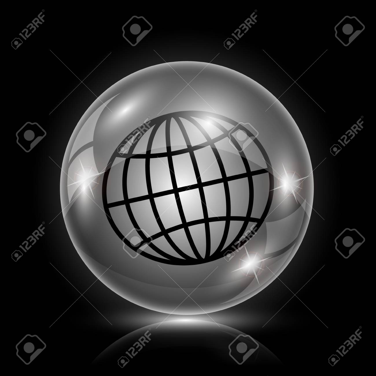 Shiny glossy icon - glass ball on black background Stock Vector - 26377963