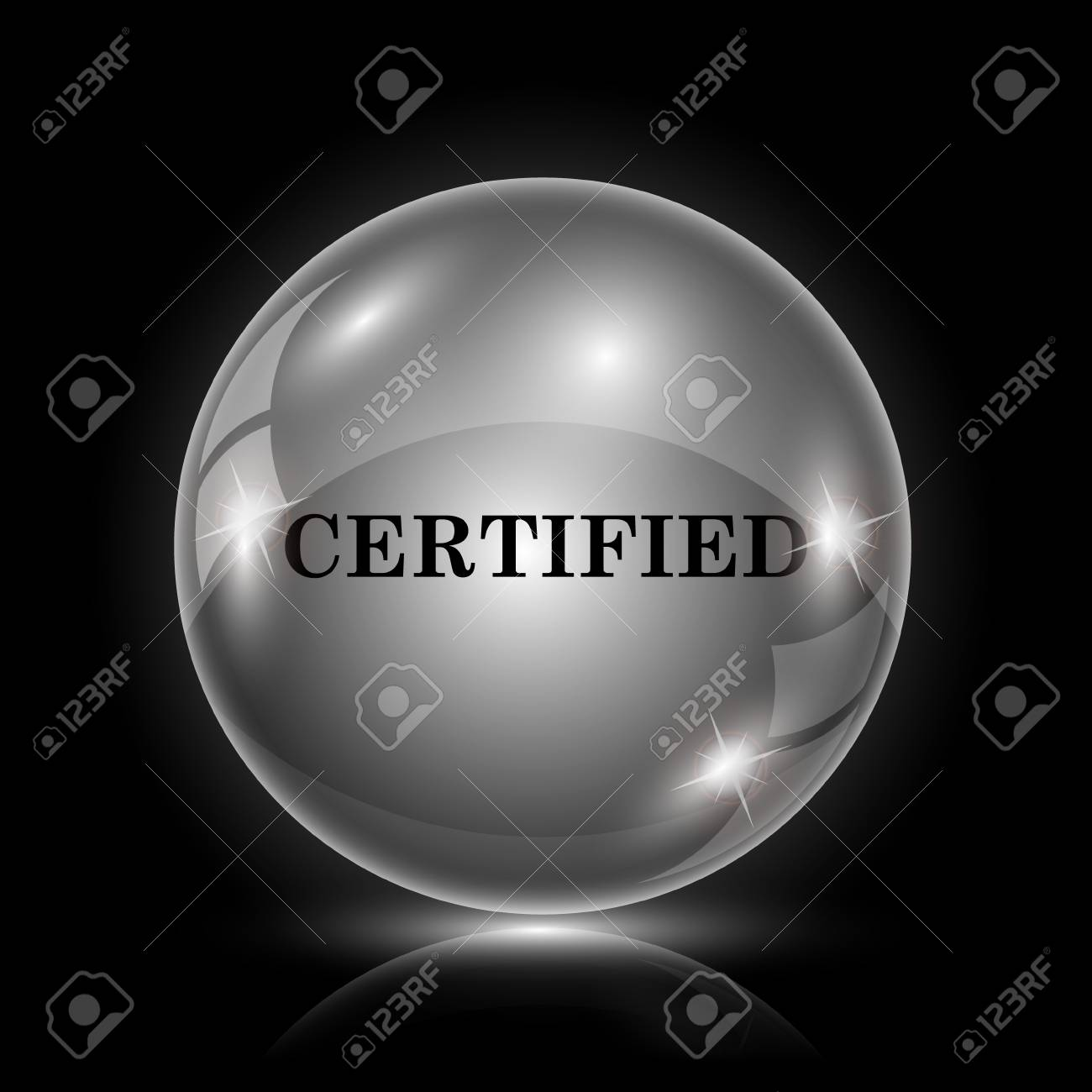 Shiny glossy icon - glass ball on black background Stock Vector - 26378141