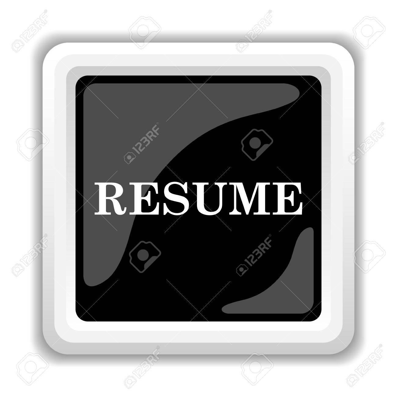resume icon. internet button on white background. stock photo