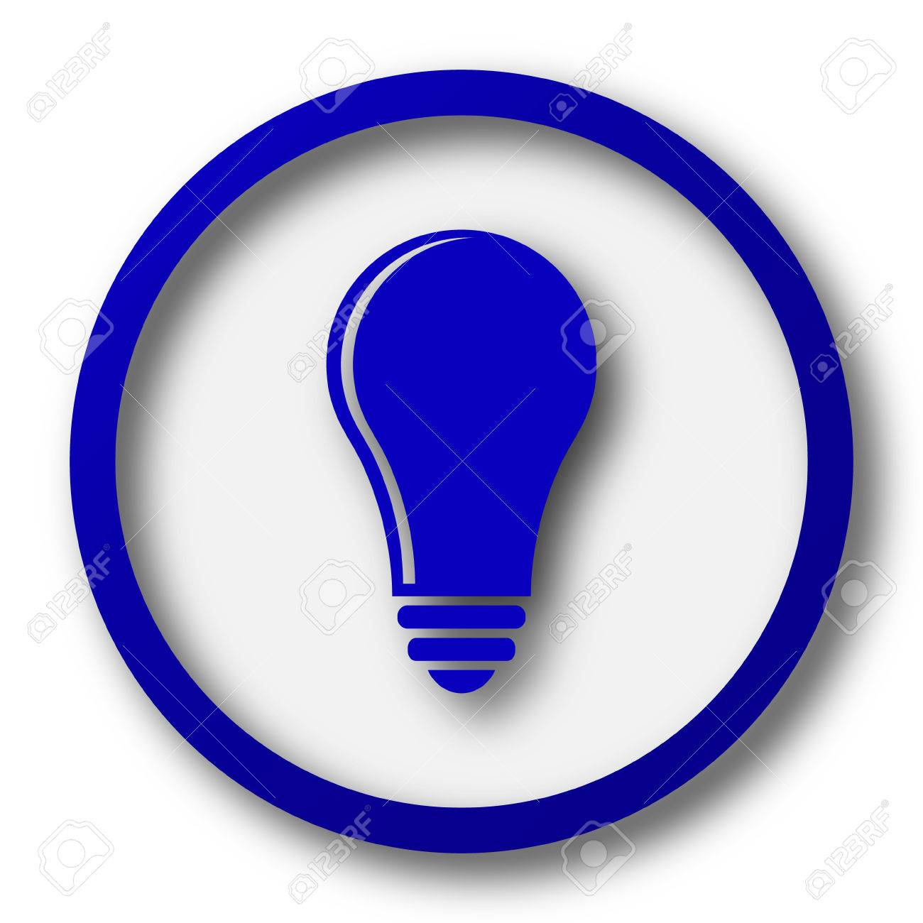 vector square blue icon lighting bulb. light bulb idea icon blue internet button on white background stock photo vector square lighting e