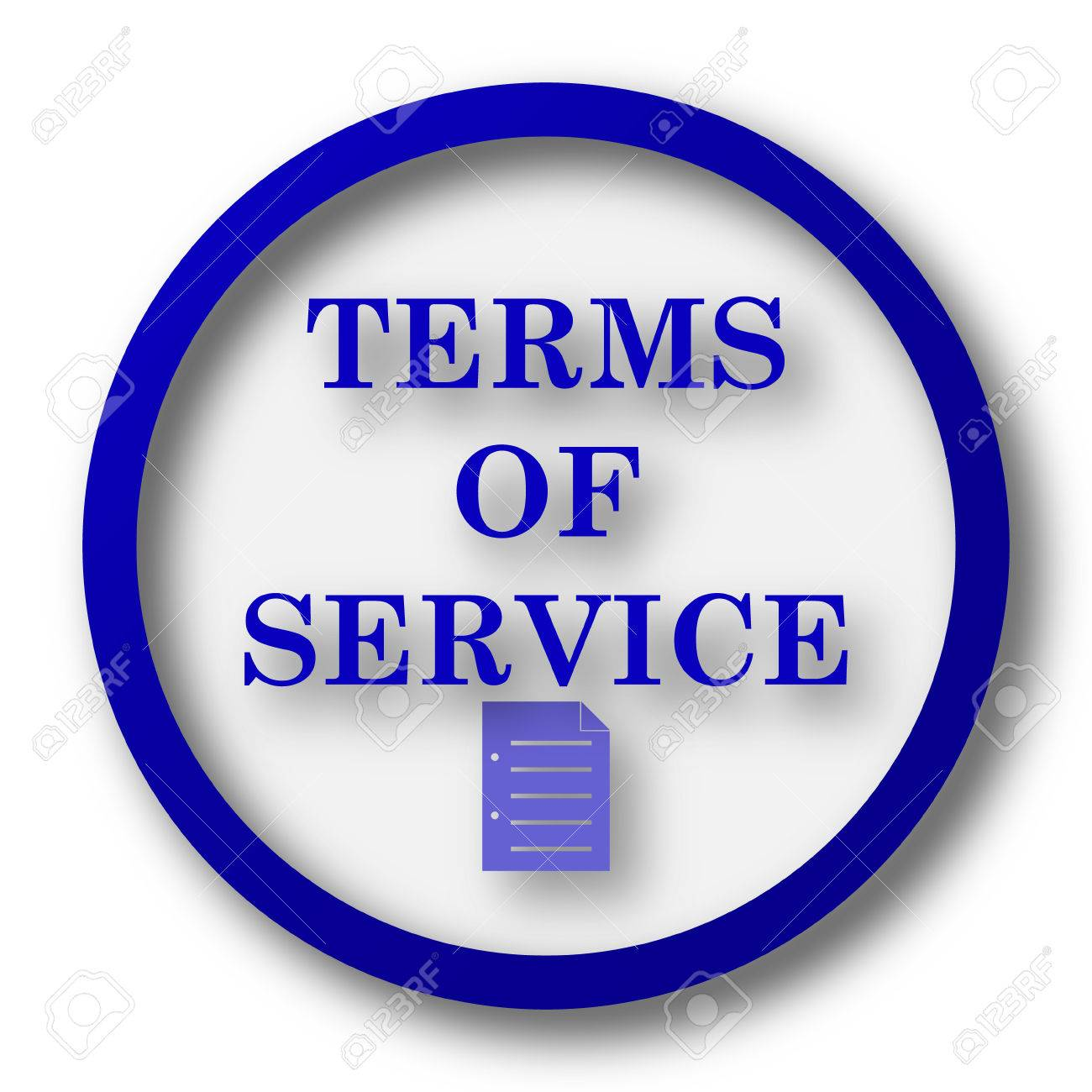 Terms of service icon blue internet button on white background stock photo 40115502