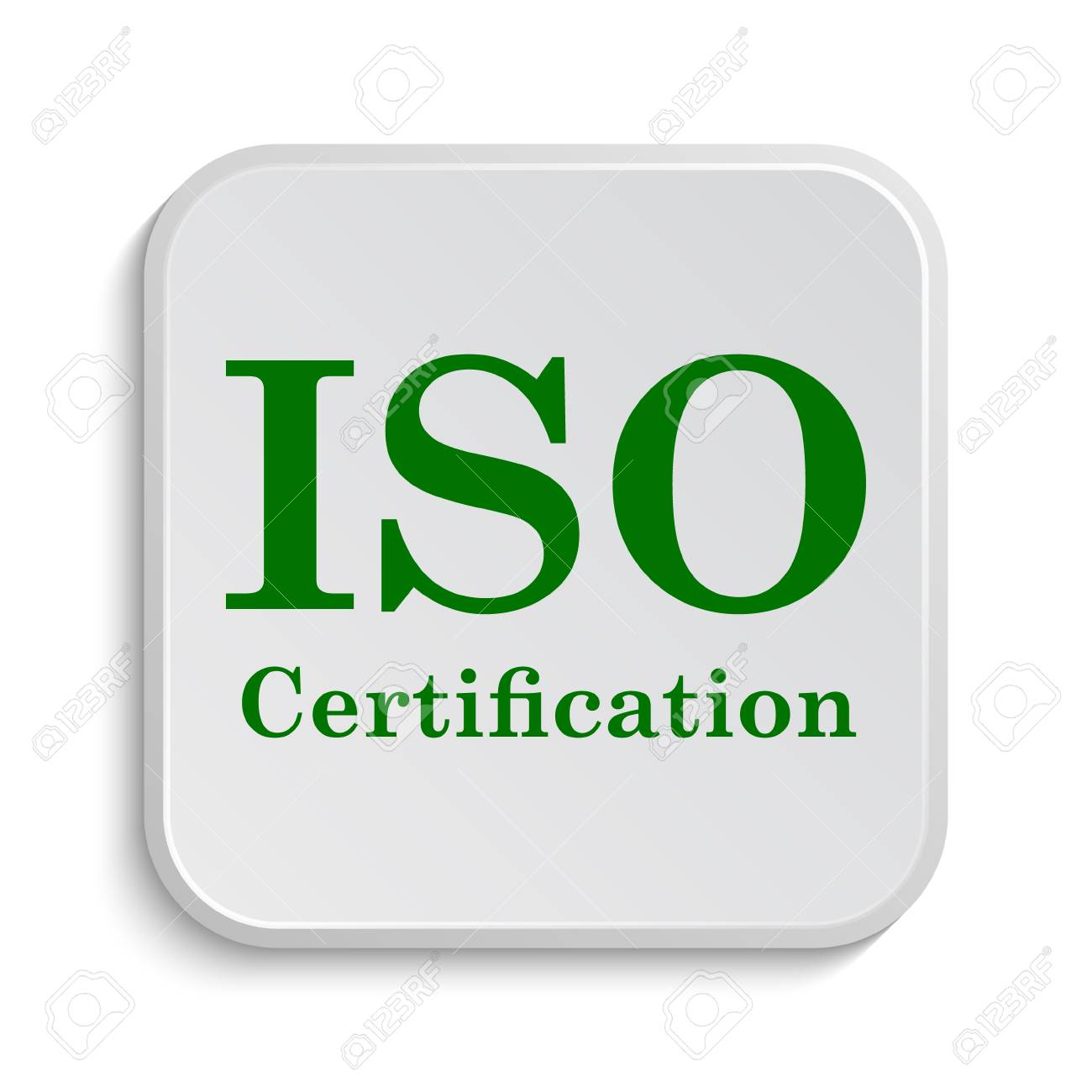 Iso Certification Icon Internet Button On White Background Stock