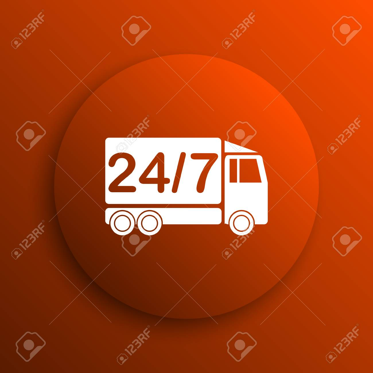 24 7 Delivery Truck Icon Internet Button On Orange Background