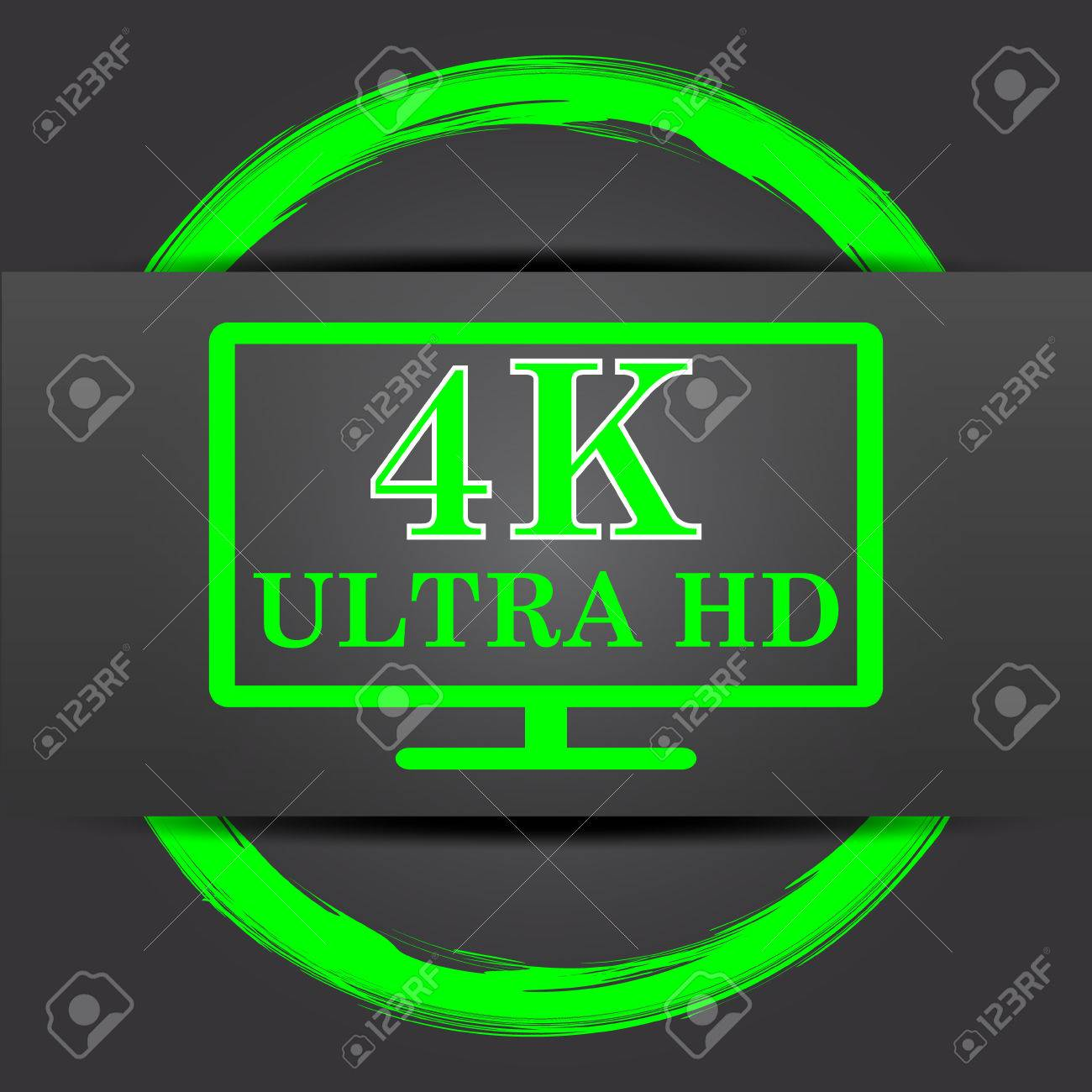 4k Ultra Hd Icon Internet Button With Green On Grey Background