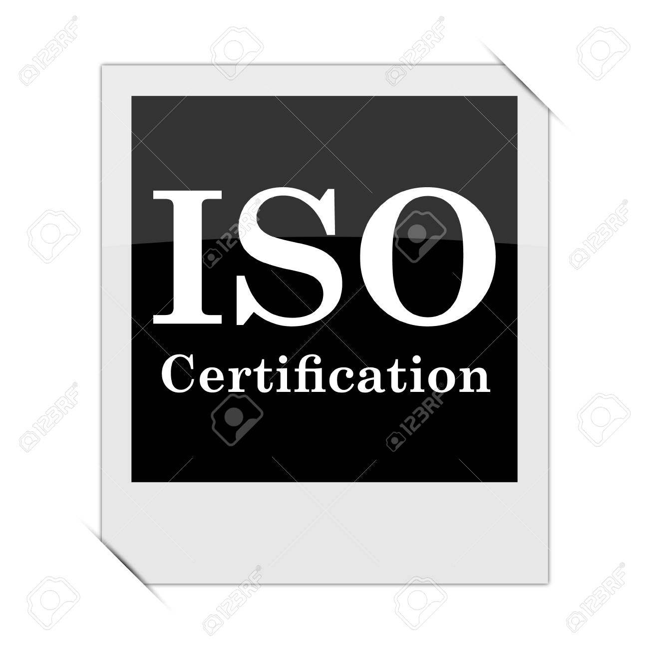 Iso Certification Icon Within A Photo On White Background Stock