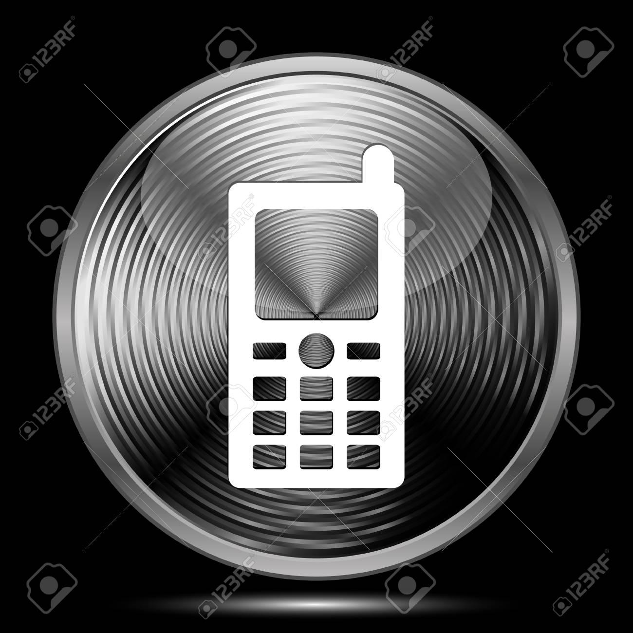 Icona Del Telefono Cellulare Pulsante Su Sfondo Nero