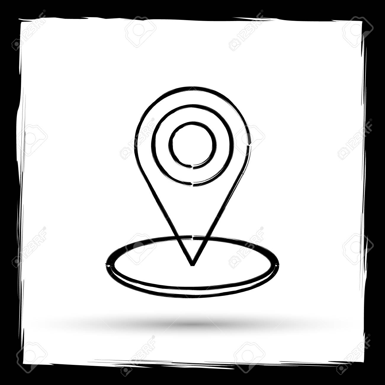 Pin location icon  Internet button on white background  Outline