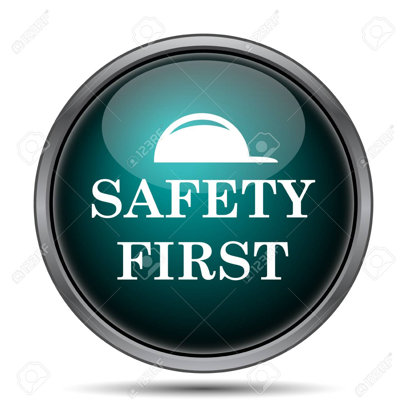 Safety First Icon Internet Button On White Background Stock Photo