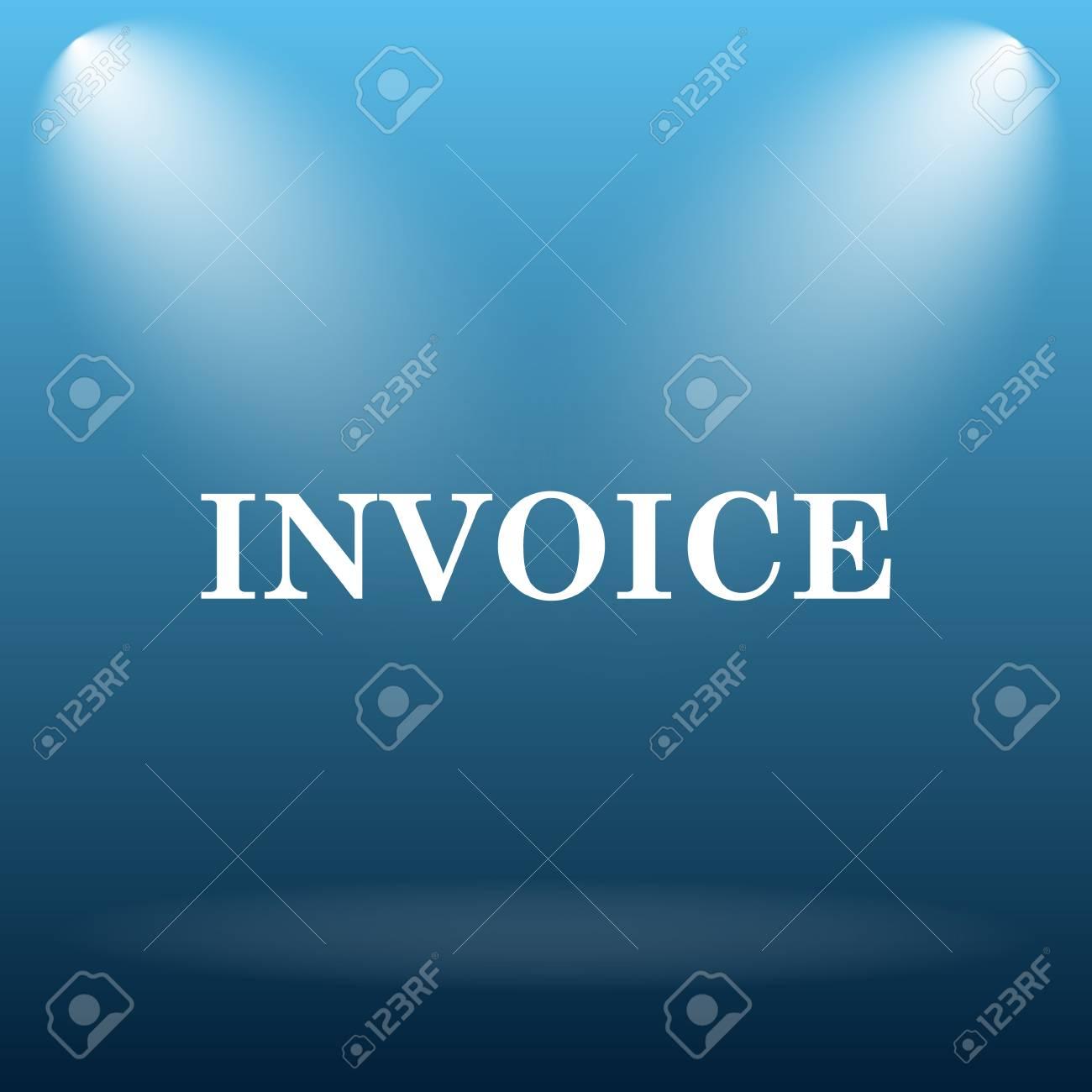 invoice icon internet button on blue background stock photo 53243861