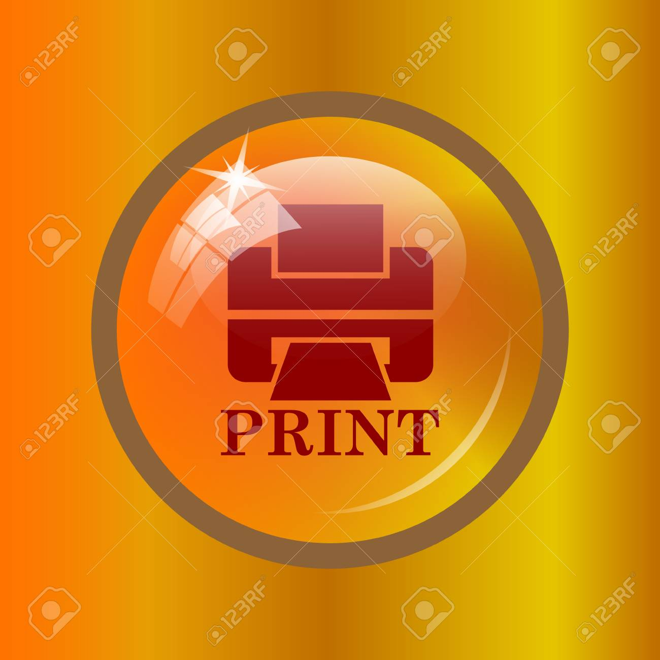 Printer With Word PRINT Icon Internet Button On Colored Background Stock Photo