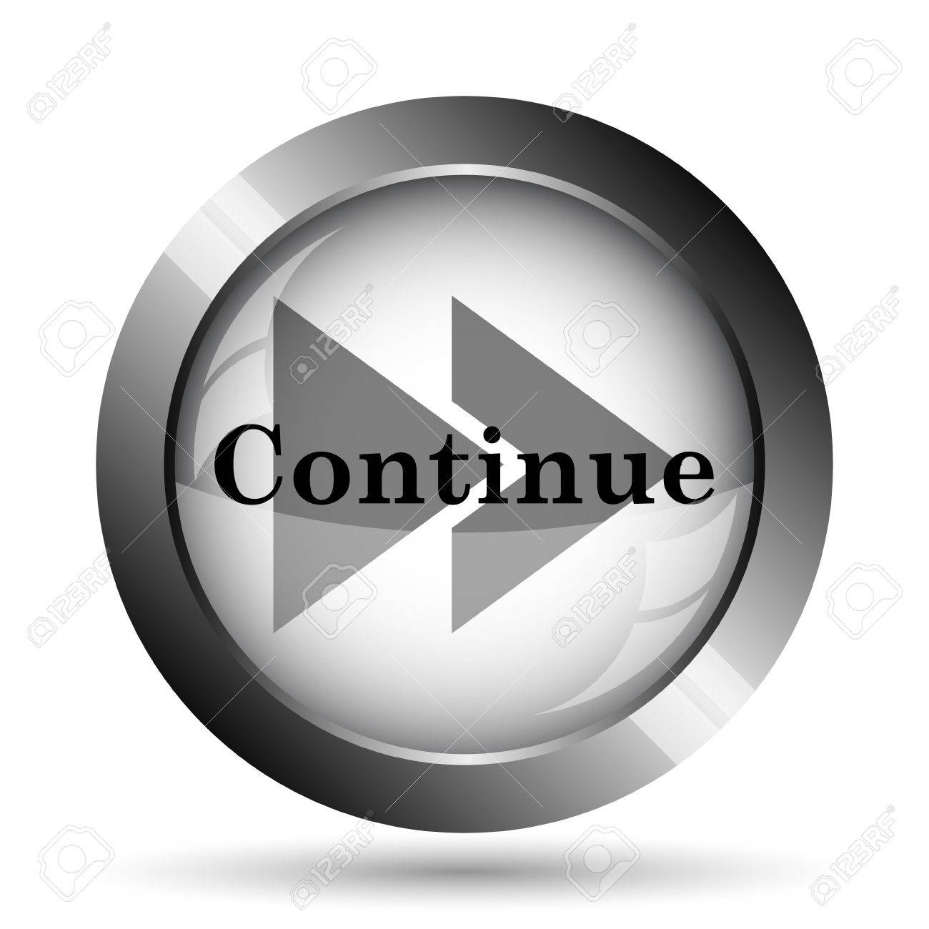 Continue Icon Website Button On White Background Stock Photo