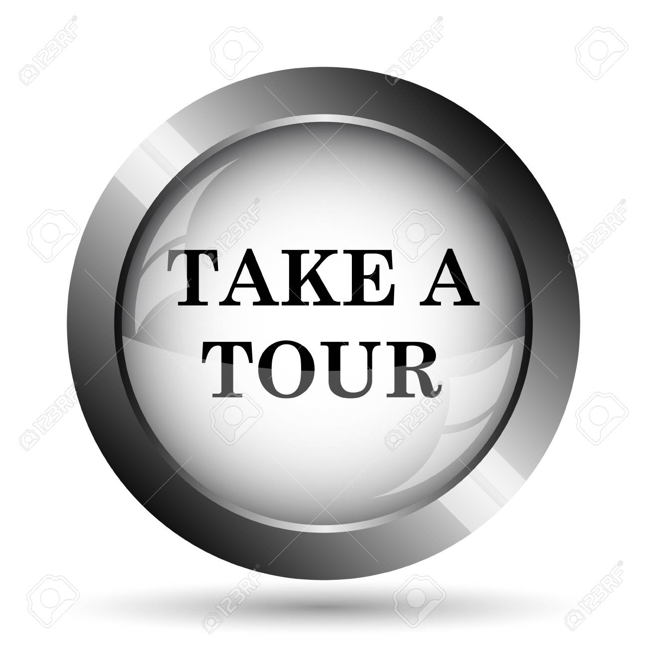 Stock Photo - Take a tour icon. Take a tour website button on white background.