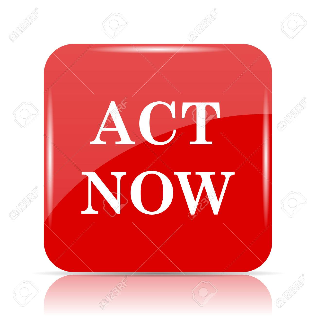 act now icon act now website button on white background stock
