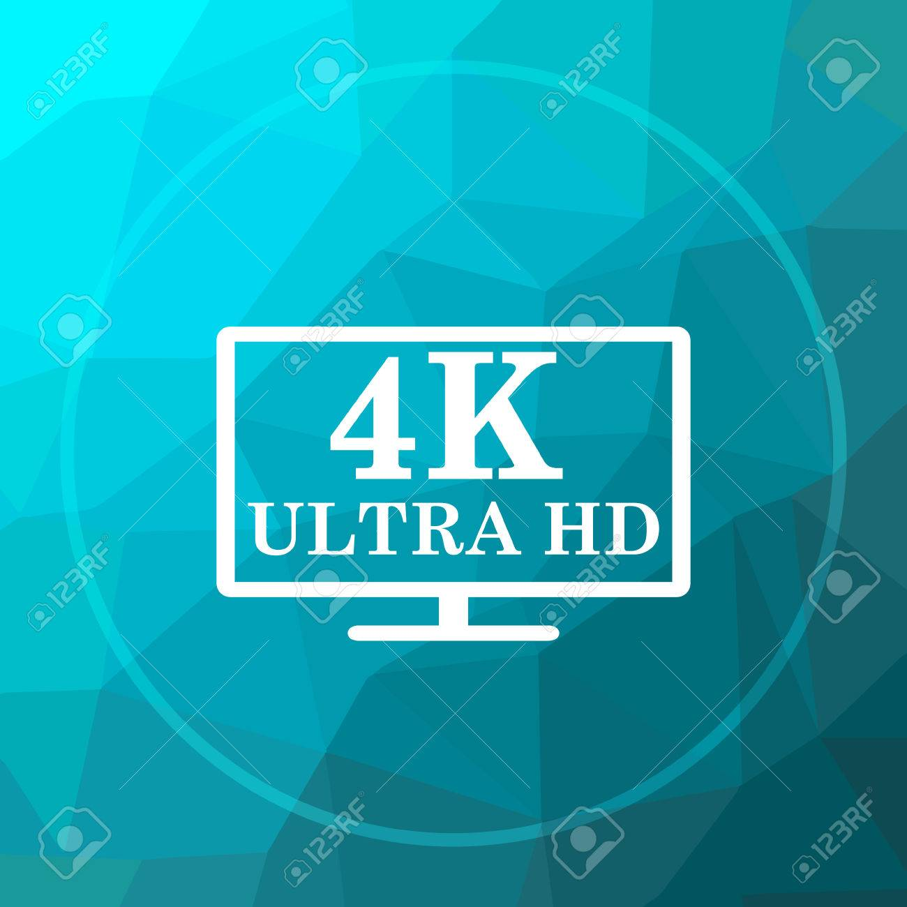 4k Ultra Hd Icon 4k Ultra Hd Website Button On Blue Low Poly