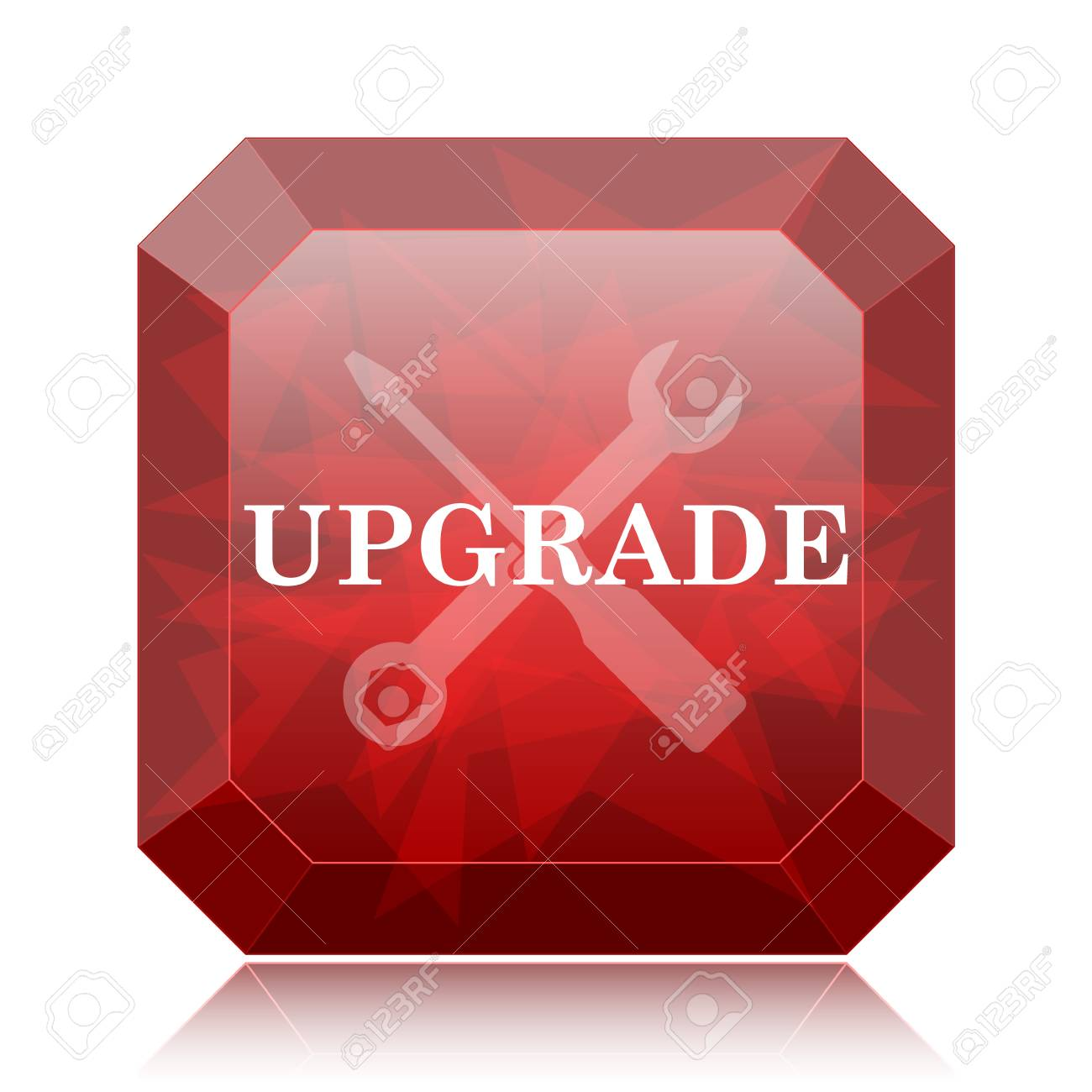 Upgrade Icon Red Website Button On White Background Stock Photo