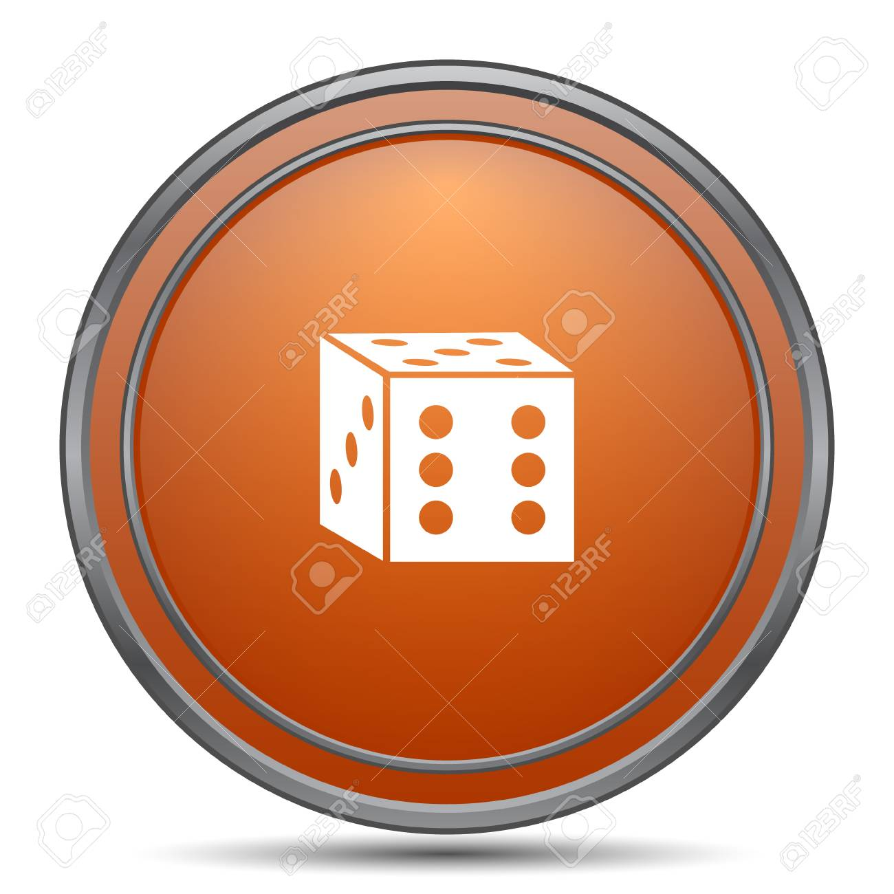 Dice Symbol Orange Internet Taste Auf Weißen Hintergrund