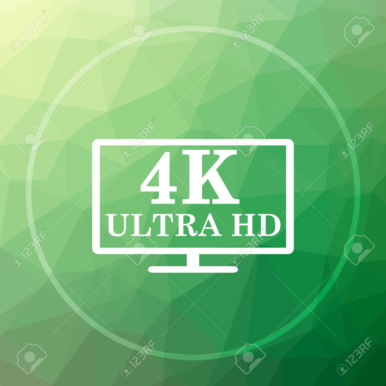 4k Ultra Hd Icon 4k Ultra Hd Website Button On Green Low Poly