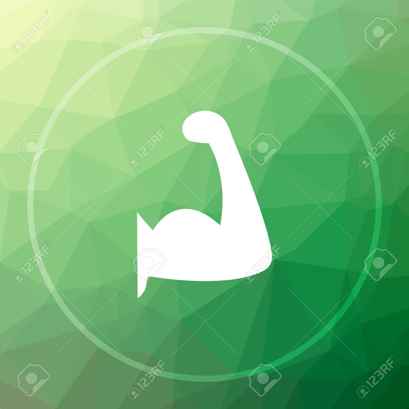 Muscle icon  Muscle website button on green low poly background