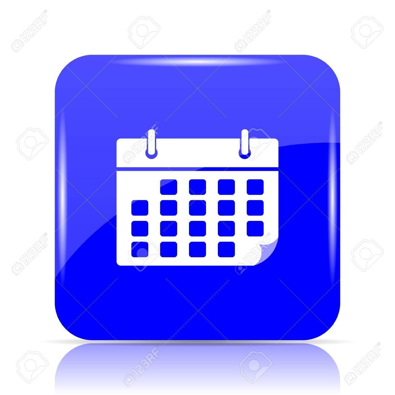 Calendario Per Sito Web.Icona Del Calendario Pulsante Sito Web Blu Su Sfondo Bianco