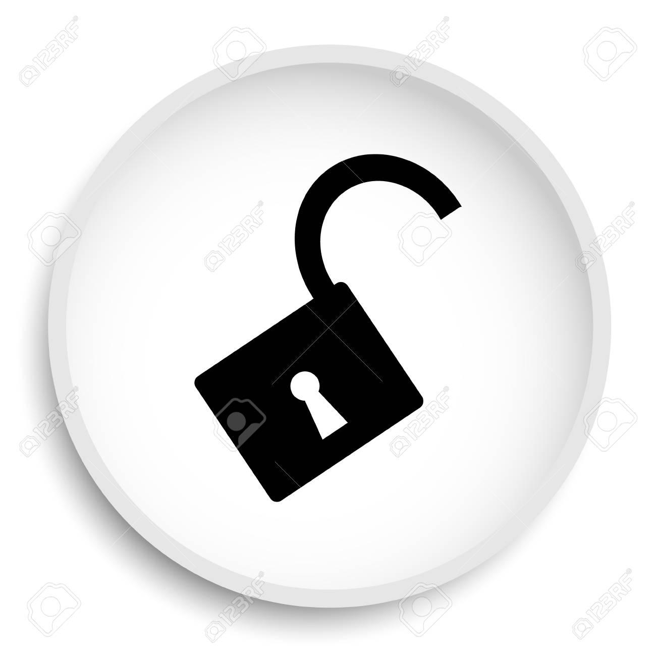 Open lock icon  Open lock website button on white background
