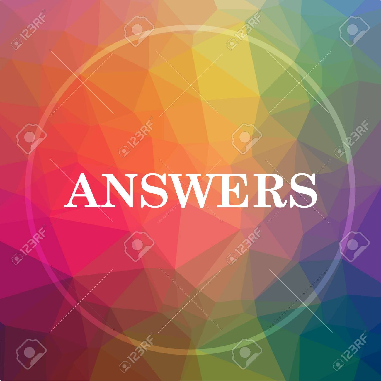 Answers icon  Answers website button on low poly background