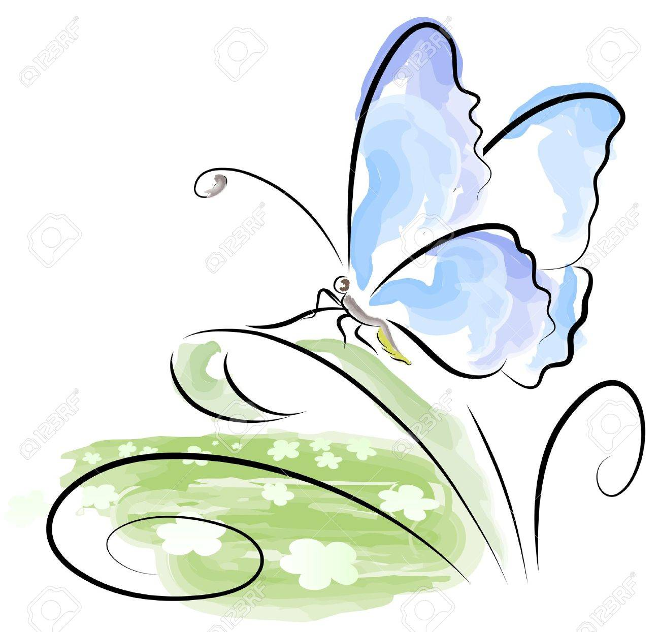 butterfly sitting on grass over flower field royalty free cliparts
