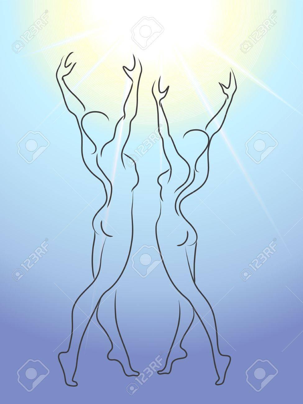 Woman and man glorify sun Stock Vector - 13100216