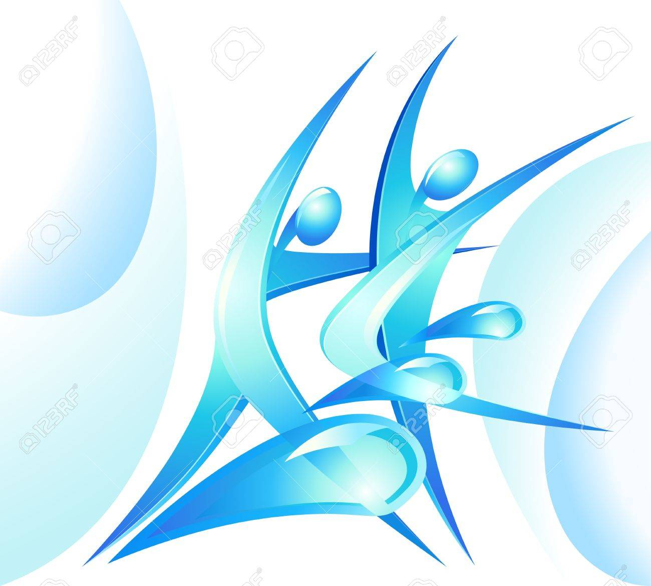 Eco-icon with blue dancers and water drops Stock Vector - 13464433