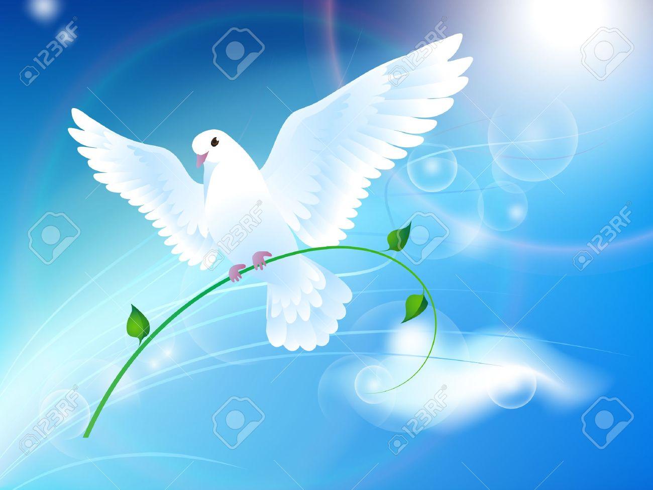 Fabuleux Colombe De La Paix Dans Le Ciel Clip Art Libres De Droits  BY69