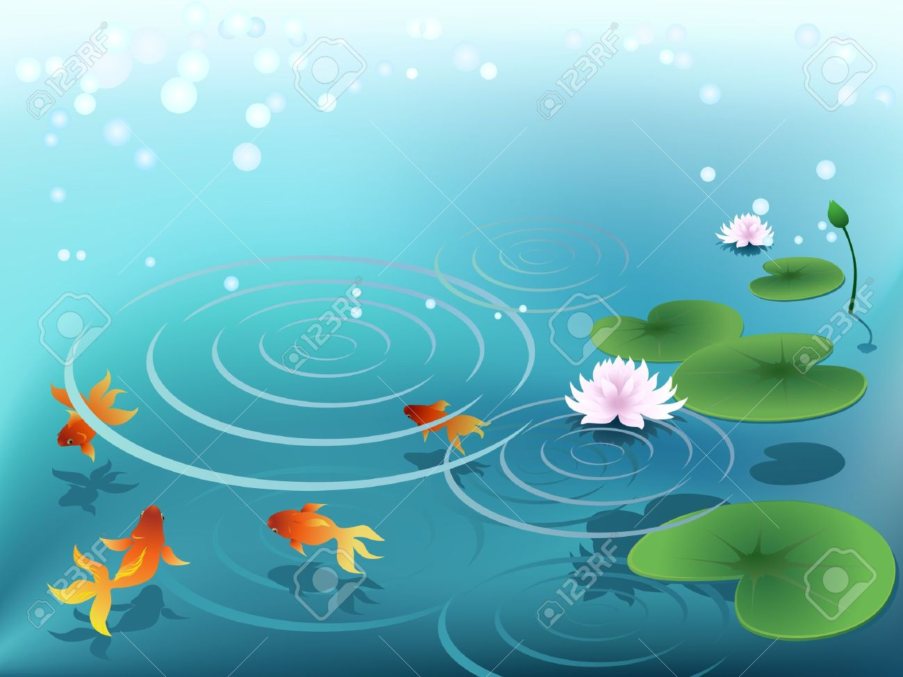 Pond with goldfish Stock Vector - 13548082