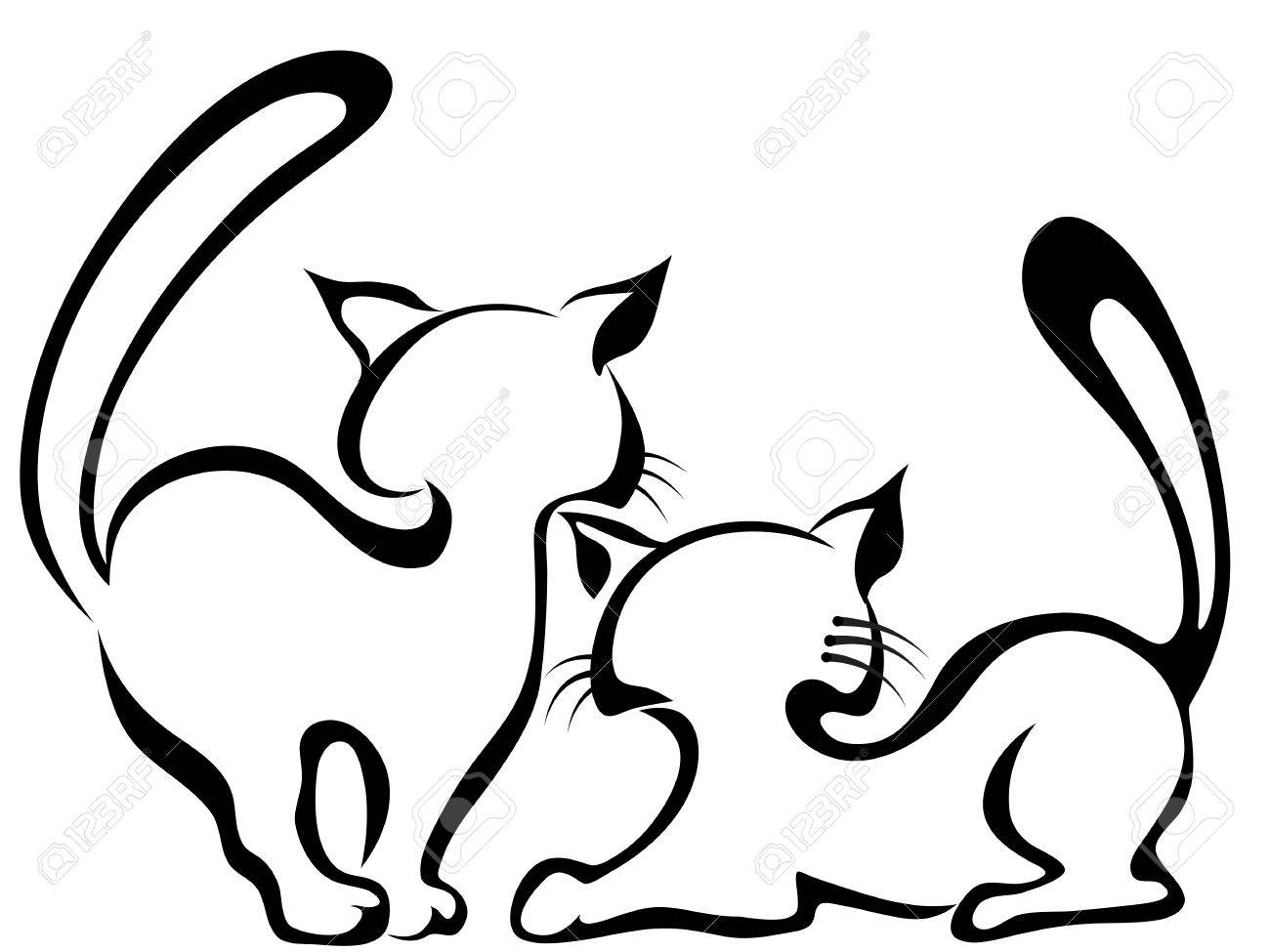Sketch Of Two Cats Royalty Free Cliparts Vectors And Stock