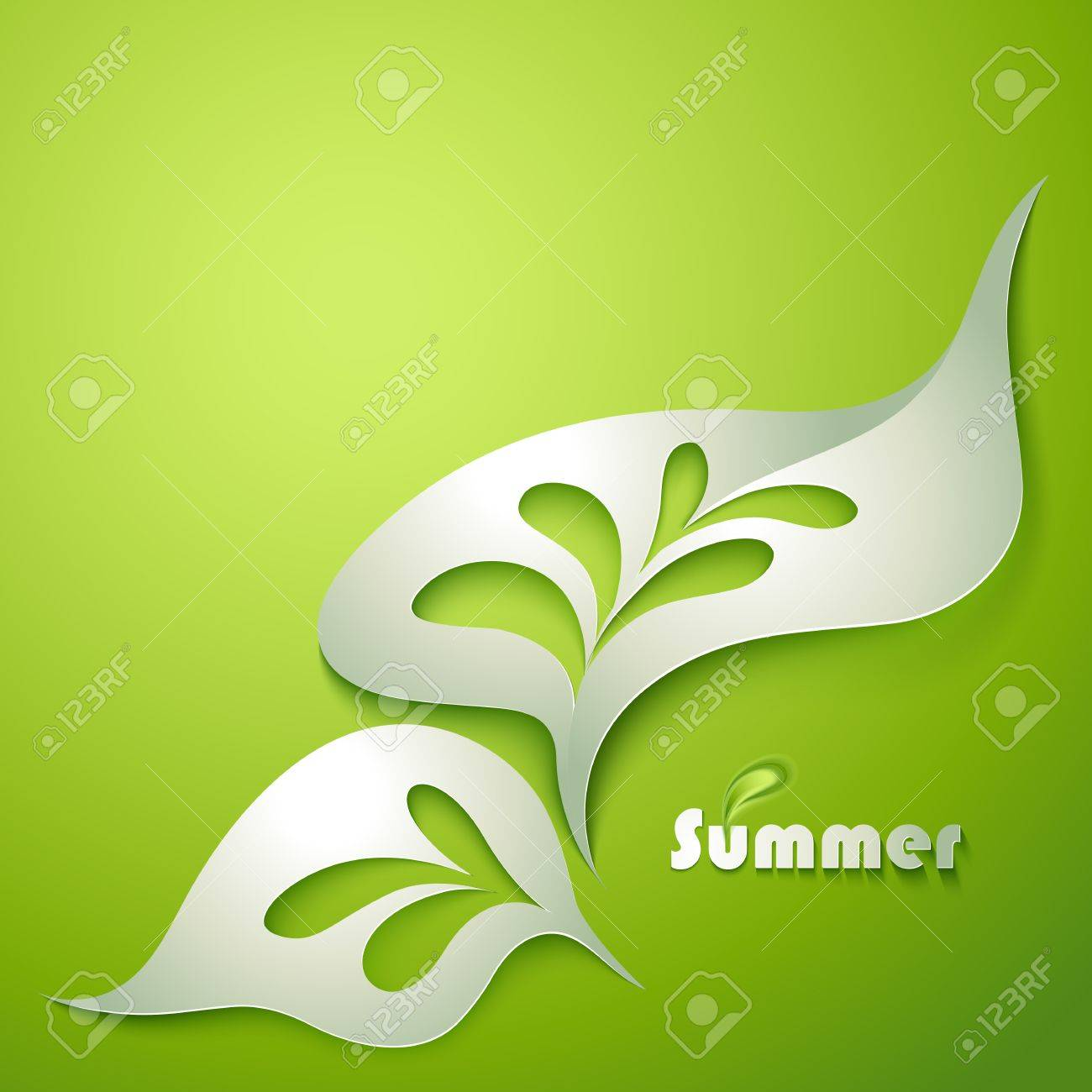 Abstract paper leaf with green elements Stock Vector - 20356279