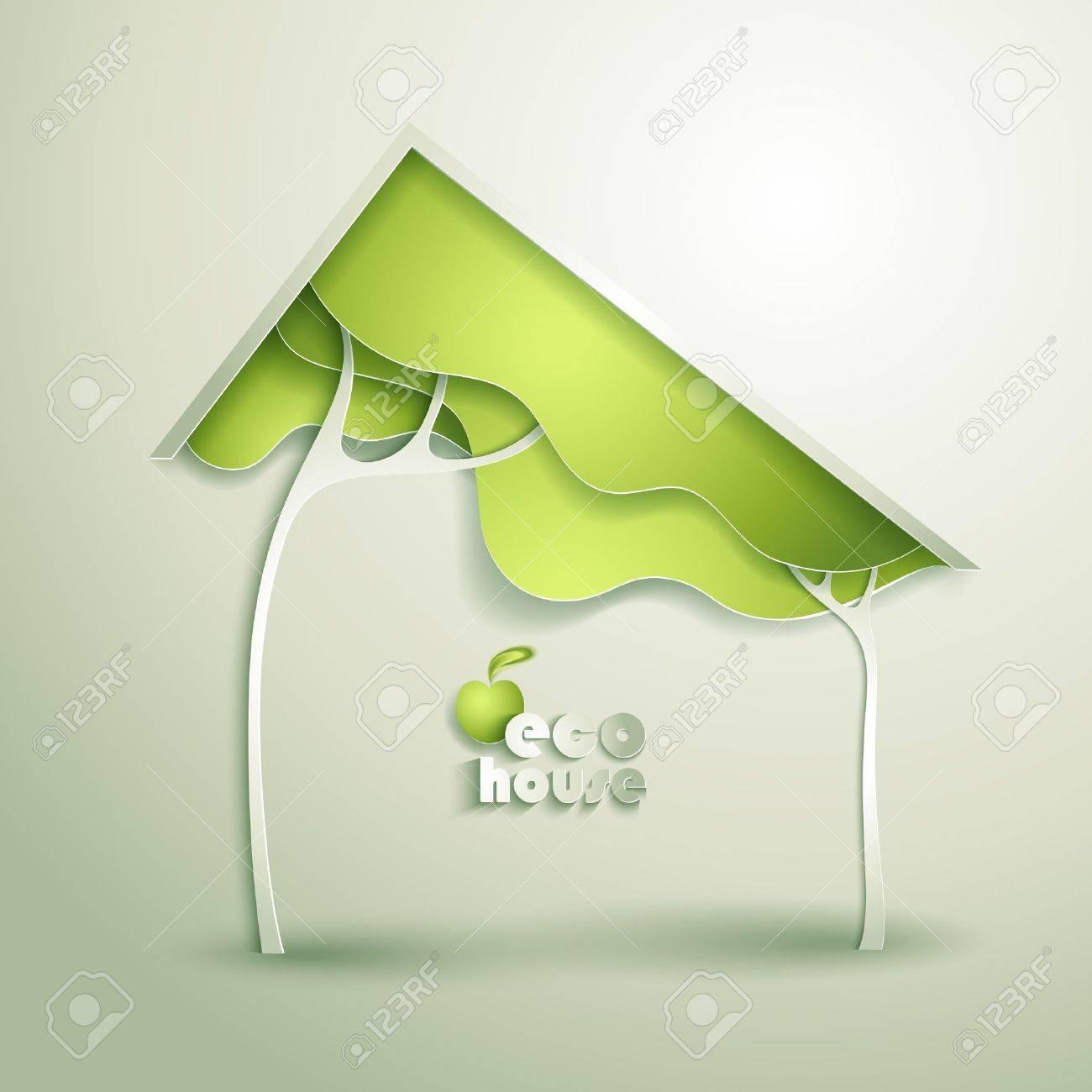 Abstract vector GREEN eco house Stock Vector - 20589818