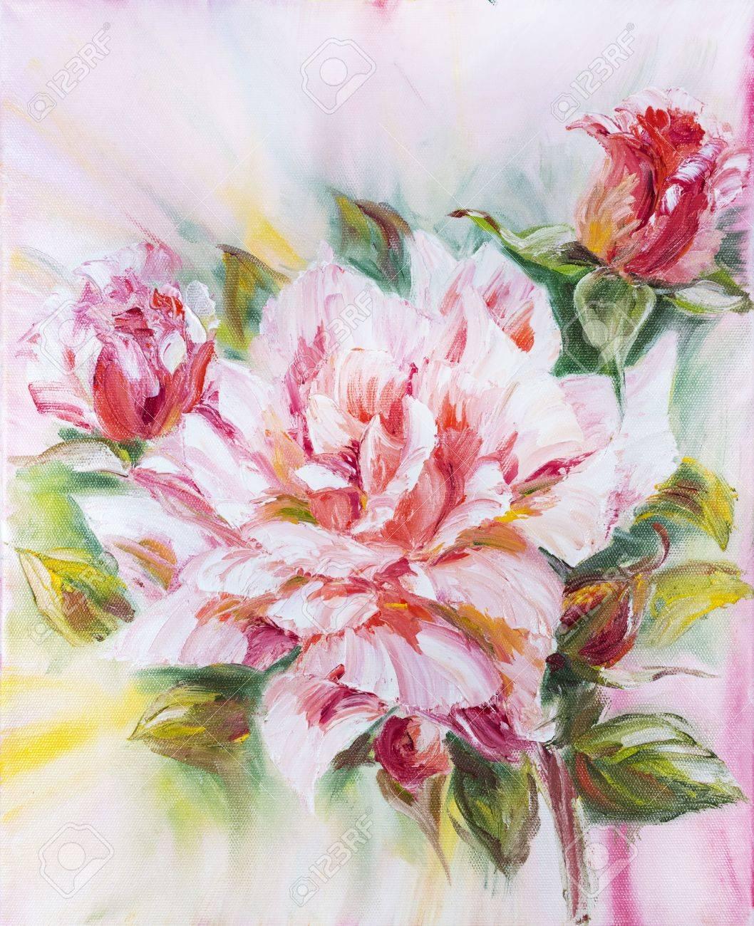 Belle Rose Peinture A L Huile Sur Toile Banque D Images Et Photos