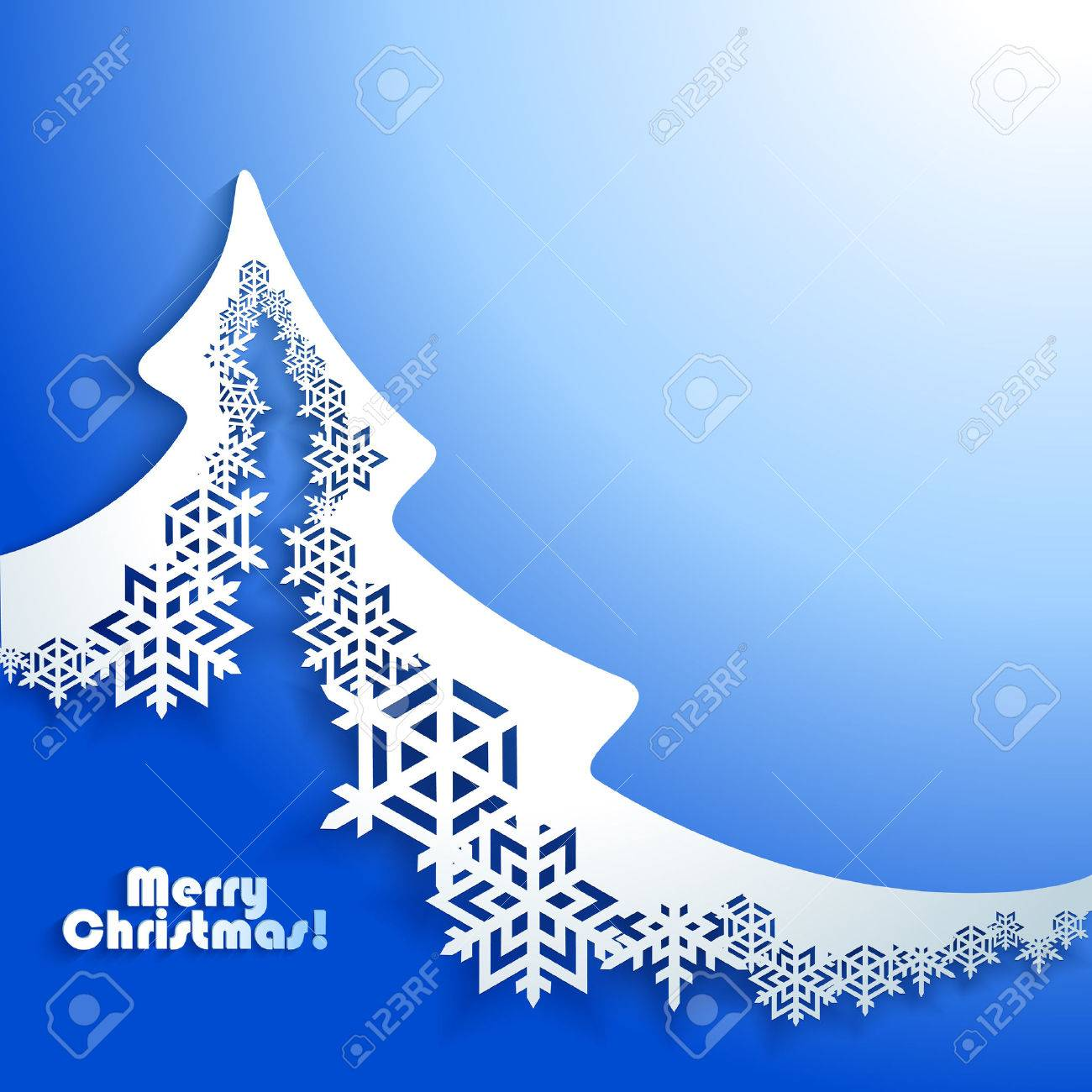 Abstract Christmas winter Background with paper christmas tree Stock Vector - 22599531