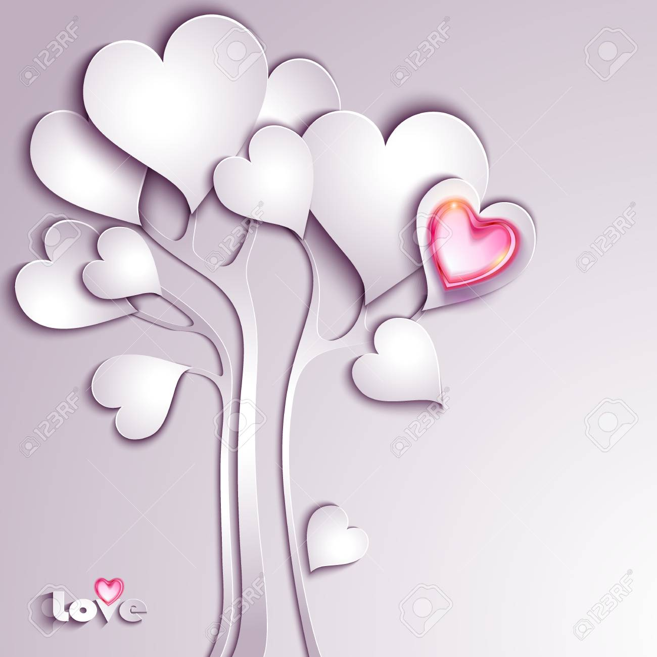 Paper tree with hearts Stock Vector - 25327177