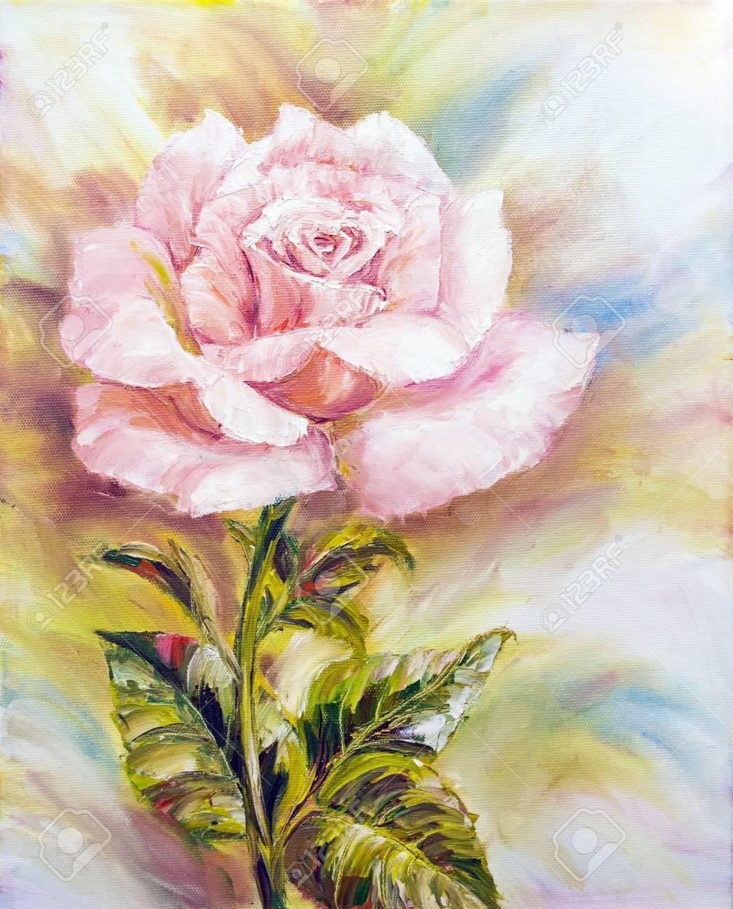 Belle Rose Peinture A L Huile Sur Toile Banque D Images Et Photos Libres De Droits Image 25960260