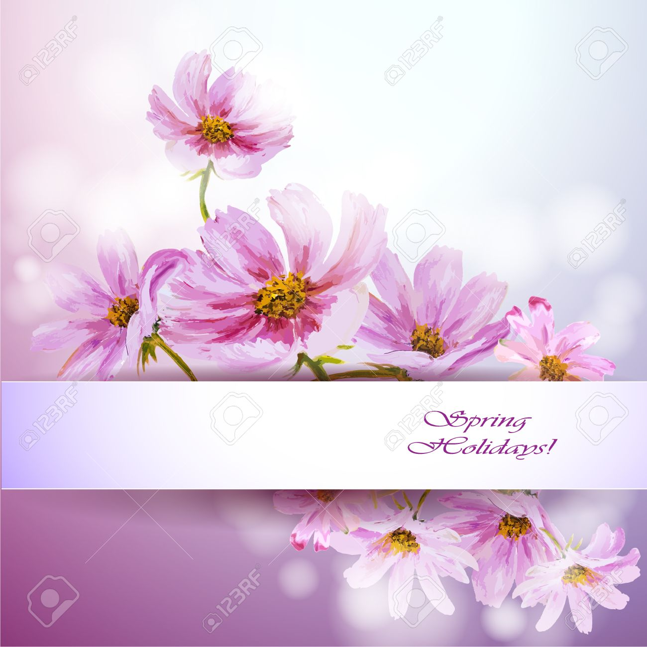 cosmos flowers background spring flowers invitation template