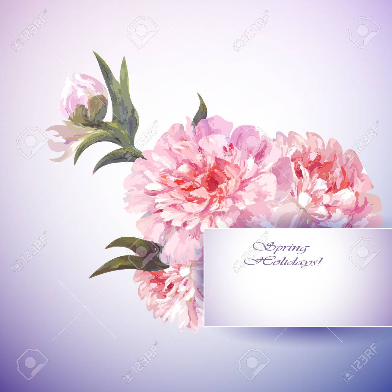 Peonies flowers background spring flowers invitation template spring flowers invitation template card stock vector 27331223 stopboris Image collections