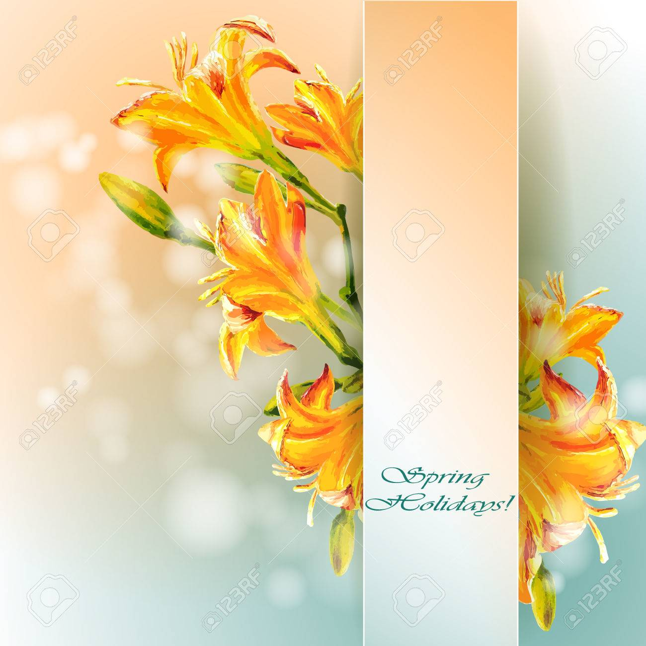 Yellow lilies flowers background spring flowers invitation template banco de imagens yellow lilies flowers background spring flowers invitation template card stopboris Image collections